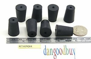 6 Rubber Stoppers Laboratory Stoppers Size 0 With Single Hole corks