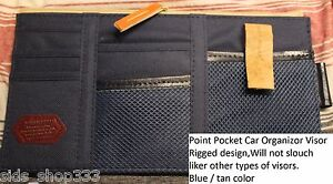 Point Pocket Car Visor Organizer Blue Great Gift Canvas Leather And Mesh