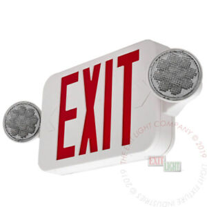 Led Exit Sign Emergency Light High Output Red Compact Combo Ul Comborjr2
