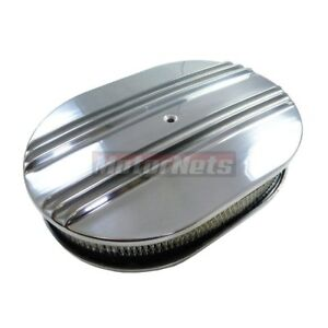Chevy Ford Chrysler 12 Oval Half Finned Aluminum Air Cleaner Nostalgia Classic