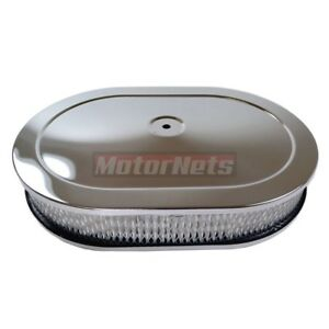 12 Chrome Oval Hot Rod Breather Air Cleaner Filter Kit Ford Chevy Sbc Bbc Mopar