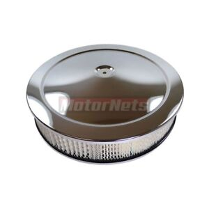 14 Round Chrome Muscle Car Air Cleaner Street Hotrod Breather Flat Base Sbc Bbc