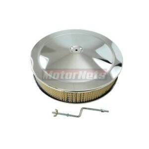 Chrome 14 X 3 Air Cleaner Hei Offset Base Chevy Ford Mopar Bbc 5 1 8 4 Barrel