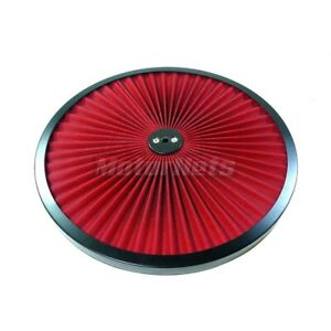 Red Super Flow Through Top 14 Black Air Cleaner Lid Round Sbc 350 Bbc 454