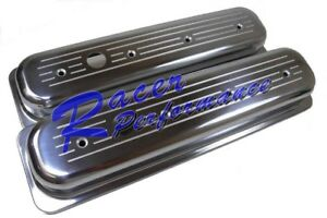Ball Milled Polished Aluminum Center Bolt Valve Cover Sbc 305 350 5 0 5 7