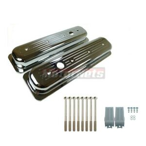87 97 Small Block Chevy Sbc Centerbolt Chrome Aluminum Valve Cover Ball mill 350
