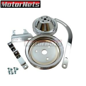 Sb Chevy Chrome 2 Groove Short Pump Pulley Kit 90alternator Brackets Sbc Swp