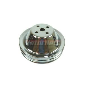 Sbc Chevy Chrome Short Water Pump Pulley Double 2 Groove Swp Small Block 350