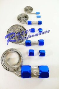 Stainless Braided Hose Cover Kit Aluminum Blue Ends Hot Rod Street Rat Rod V8