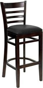 Walnut Wood Finished Ladder Back Restaurant Bar Stool With Black Vinyl Seat