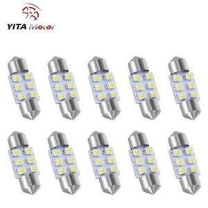 10 X White 31mm Festoon Dome Map Interior Led Light 3528 6 Smd Lamp De3175 3022