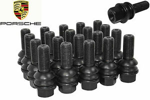 20 New Porsche Oem Black Lug Bolts 28 Mm 14x1 5 Ball Seat R14 Bolt W Washer