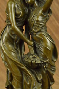 Auguste Moreau Mother Love Bronze Sculpture Art Deco Marble Base Figurine Gift