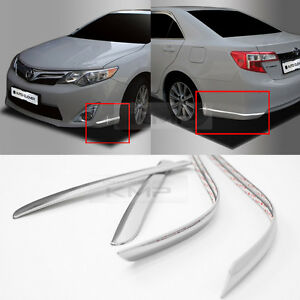 Chrome Front Rear Bumper Edge Moldings Trim 4p Set For 2012 2014 Toyota Camry