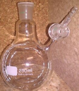 Schott Duran Glass 250ml Nitrogen Round Bottom Schlenk Flask Valve 29 32 Jnt