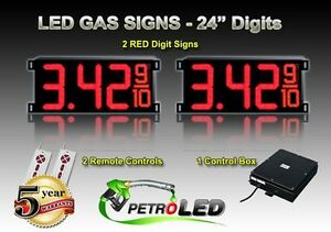 24 Led Gas Station Electronic Fuel Price Sign Digital Changer Complete Package