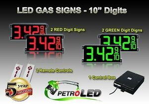 10 Led Gas Station Electronic Fuel Price Sign Digital Changer Complete Package
