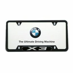 Bmw X3 License Plate Frame Black Stainless Steel 82120418626