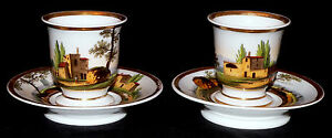 Pr Cup Saucer Porcelain Vieux Old Paris France Italianate Scenic C1830