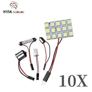 10x White 5050 Smd 1156 Festoon T10 Ba9s Led Interior Panel Map Dome Light Bulbs