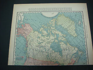 1914 Rand Mcnally Atlas Map Page Dominion Of Canada Nice Color Suitable To Frame