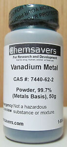 Vanadium Metal Powder chunks 99 7 metals Basis 50g