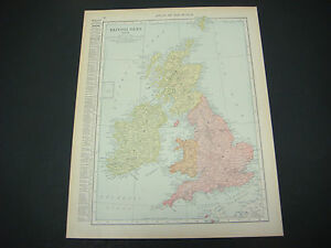 1914 Rand Mcnally Atlas Map Page British Isles Europe Color Suitable To Frame
