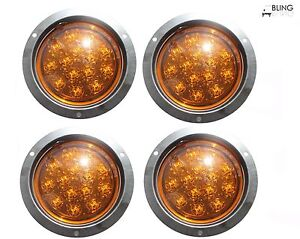 4 Round Amber 5 Led Flush Mount Turn Signal Light Truck Trailer No Stick Out