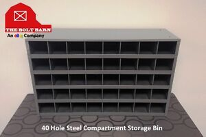 Metal 40 Hole Storage Bin Cabinet For Bolts Screws nuts Washers Made In Usa