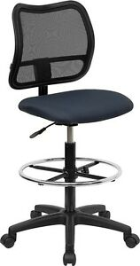 Mid back Mesh Medical Office Computer Chair In Navy Blue Fabric W drafting Stool