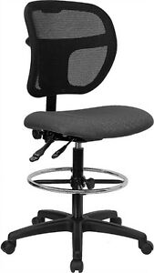 Mid back Mesh Medical Office Computer Chair In Gray Fabric W drafting Stool