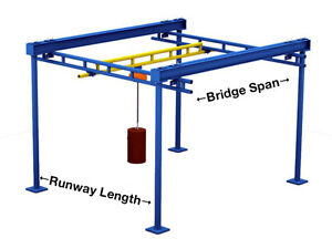 Gorbel Free Standing Workstation Bridge Crane 500 Lb Capacity 10 Ft X 23 Ft