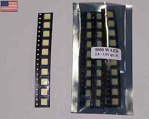 500pcs Ultra Bright White 5050 Smd Plcc 6 3 chips Smt 3 2v Led Light Us Seller