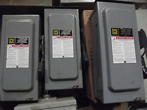 Sq D Square D 60 Amp Disconnect Safety Switch D322nrb 240 Vac Type 3r