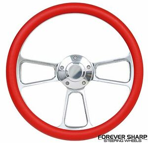 14 Aluminum Red Steering Wheel To Hot Rod 3 Bolt Adapter Column Grant