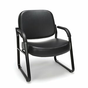 Big Tall 400lbs Capacity Anti bacterial Black Vinyl Medical Guest Chair W arms