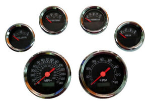 6 Gauge Set Speedo Tacho Oil temp fuel volt Black chrome Blue Led 043 bc