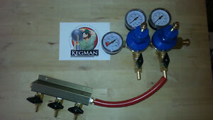 Three Beer Gas Manifold And Three Gauge Dual Pressure Co2 Gas Regulator