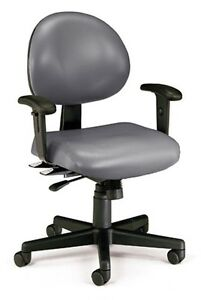Anti bacterial Charcoal Vinyl Medical Office Task Chair W arms Doctors Chair