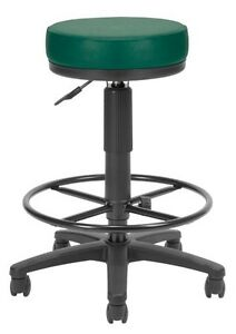 Anti bacterial Utility Medical Office Stool In Teal Vinyl With Drafting Stool