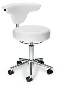 Anti bacterial Medical Office Task Chair In White Color Vinyl Clinic Lab Stool