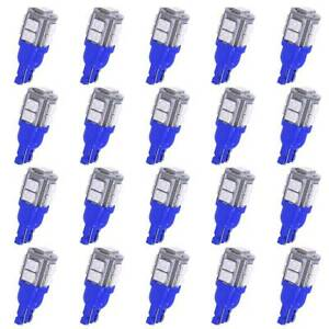 20 X Car Ultra Blue T10 10 Smd Led Side Wedge Light Lamp Bulbs W5w 168 194 2825