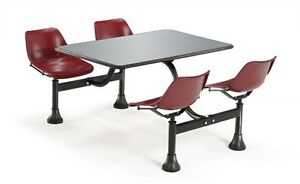 30 X 48 Restaurant Cluster Table With Maroon Seats And Stainless Steel Top