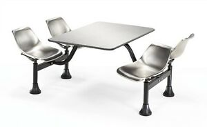 30 X 48 Restaurant Cluster Table With Stainless Steel Seats And Top