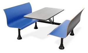 30 X 48 Restaurant Retro Bench Stainless Steel Top center Frame Blue Seats