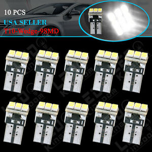 10x White T10 Wedge 9smd Interior Light Bulbs Dome Map License Plate Led 192 194