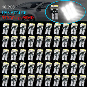 50 Pcs Super White T10 Wedge 9 smd Interior Led Light Bulbs W5w 194 168 2825 158
