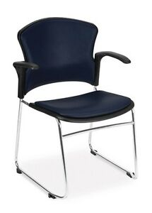 Anti bacterial Blue Vinyl Stackable Medical Office Side Chair Clinic Seating
