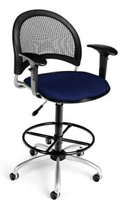 Navy Swivel Computer Task Chair W arms Drafting Kit Medical Office Chair