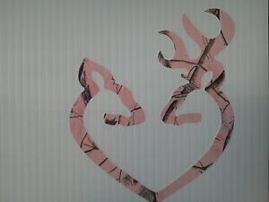 Browning Style Pink Camo Buck And Doe Heart Sticker And Decal